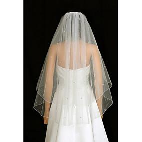 preiswerte U-SWEAR®-Zweischichtig Hochzeitsschleier Gesichts Schleier / Fingerspitzenlange Schleier mit Strass / Gerafft Tüll / Engelschnitt / Wasserfall