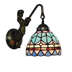 povoljno Lámpatestek-promjer 15cm retro zemlja sirena tiffany zidne svjetiljke staklo hladovina dnevni boravak spavaća svjetiljka