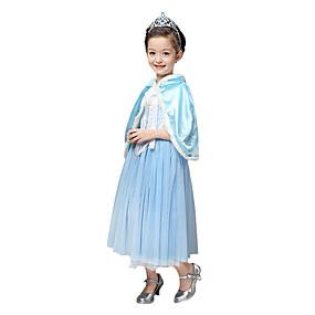 preiswerte Kostüme für Kinder-Prinzessin Märchen Elsa Cosplay Kostüme Party Kostüme Kinder Mädchen Weihnachten Halloween Karneval Fest / Feiertage Chiffon Flanell Vlies Rot / Blau Karneval Kostüme Solide