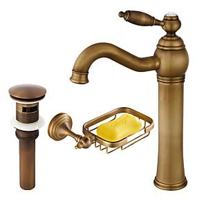 preiswerte Armaturen & Bad Zubehör-Wasserhahn-Set - Verbreitete Antikes Kupfer Mittellage Einhand Ein LochBath Taps