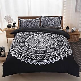 preiswerte Bohemian Bettbezüge-Bettbezug-Sets Geometrisch Polyester Reaktivdruck 3 StückBedding Sets / 300 / 3-teilig (1 Bettbezug, 2 Kissenbezüge)