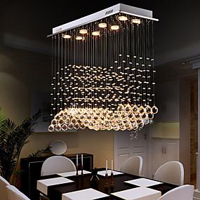 baratos Lustres-Lâmpada de cristal de 80 cm de 8 luzes incluída designer lustre de cristal de metal galvanizado chique e moderno 110-120v 220-240v gu10