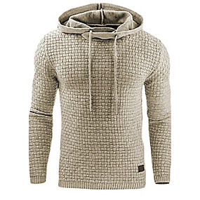 cheap Men's basics-Men's Plus Size Daily Hoodie Solid Colored Oversized Hooded Active Basic Hoodies Sweatshirts  Long Sleeve White Black Khaki / Sports / Spring / Fall / Winter