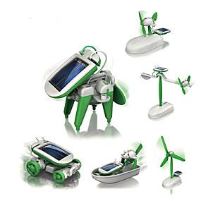 preiswerte Roboter-6 IN 1 Roboter Solar betriebene Spielsachen Flugzeug Windmühle Schiff Solar-angetrieben Heimwerken Bildung Kinder Spielzeuge Geschenk 1 pcs