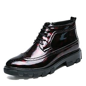 levne Větší obuv-Pánské Fashion Boots Umělá kůže Podzim / Zima Boty Kotníčkové Černá / Červená / Party