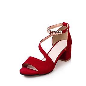 voordelige Wijdere maten schoenen-Dames Sandalen Blokhak Open teen  Gesp Nubuck leder Comfortabel / Enkelband Zomer Zwart / Amandel / Rood / Feesten & Uitgaan / Feesten & Uitgaan / EU41