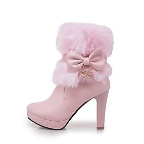 preiswerte Schuhe und Taschen-Damen Stiefel Blockabsatz Runde Zehe Schleife Kunstleder Booties / Stiefeletten Modische Stiefel Winter Weiß / Schwarz / Rosa / EU39