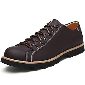 levne Větší obuv-Pánské Komfortní boty Nappa Leather Podzim / Zima Oxfordské Černá / Hnědá / Kávová / Šněrování / Venkovní