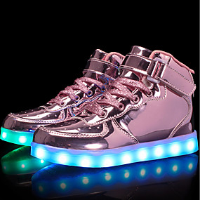 preiswerte Schuhe für Kinder-Mädchen Komfort / Leuchtende LED-Schuhe Lackleder / maßgeschneiderte Werkstoffe Sneakers Kleine Kinder (4-7 Jahre) / Große Kinder (ab 7 Jahren) Walking Schnürsenkel / Klett / LED Schwarz / Blau / Rosa