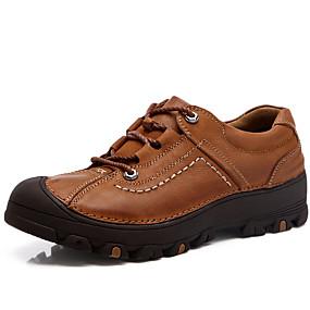 levne Větší obuv-Pánské Komfortní boty Nappa Leather Podzim / Zima Oxfordské Černá / Hnědá / Party / Šněrování / Party
