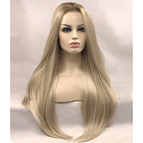 preiswerte Uniwigs®-Synthetische Lace Front Perücken Glatt Gerade Spitzenfront Perücke Blond Lang Blond Synthetische Haare Damen Blond Uniwigs