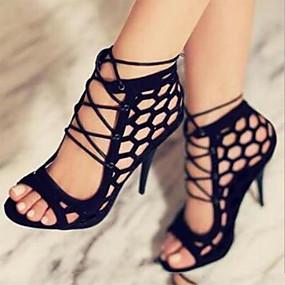 preiswerte Sapatos-Damen Sandalen Offene Spitze Schnürsenkel PU Leder Komfort / Neuheit Frühling / Sommer Schwarz / Hochzeit / Party & Festivität / Party & Festivität / EU42