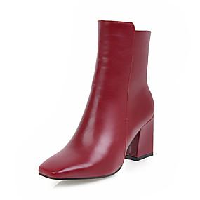 billige Mote Boots-Dame Støvler Kvadratisk Tå Glidelås Kunstlær Støvletter Trendy støvler Vinter Hvit / Svart / Rød / EU41