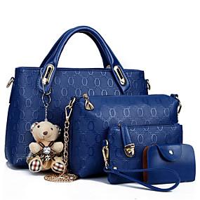 preiswerte Taschen-Damen Reißverschluss PU Bag Set Beutel Sets 4 Stück Geldbörse Set Schwarz / Gelb / Blau