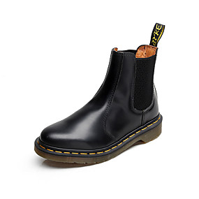 levne Větší obuv-Pánské Obuv military styl Kůže Podzim / Zima Minimalismus Boty Černá / Červená / Boty Chelsea / Nýty / EU41