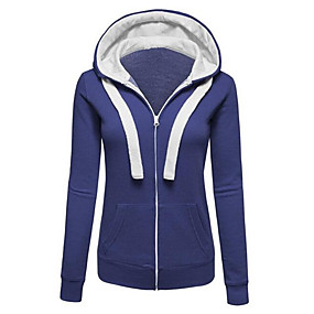 cheap Athleisure Wear-Women's Hoodie Zip Up Hoodie Sweatshirt Solid Colored Color Block Zip Up Daily Going out Streetwear Hoodies Sweatshirts  Cotton Oversized Blue Red Green