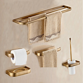 cheap Bath Accessories-Bathroom Accessory Set Antique Metal 5pcs - Hotel bath Toilet Paper Holders / tower bar / soap dish Wall Mounted