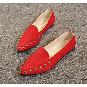 voordelige Damesschoenen met platte hak-Dames Platte schoenen Platte hak Weefsel / PU Comfortabel Lente / Herfst Beige / Grijs / Rood