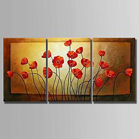 povoljno Slike za cvjetnim/biljnim motivima-Hang oslikana uljanim bojama Ručno oslikana - Sažetak Sažetak Platno / Tri plohe / Prošireni platno