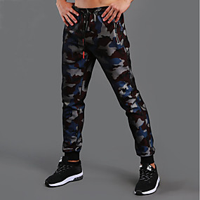 cheap Running & Jogging-Men's Sweatpants Track Pants Pants / Trousers Athleisure Wear Bottoms Drawstring Cotton Fitness Gym Workout Workout Exercise Sport Camo / Camouflage Black Red Blue