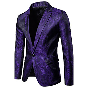 cheap Athleisure Wear-Men's Blazer Party Daily Daily Wear Sophisticated Floral / Solid Colored Slim Spandex / Polyester Men's Suit White / Blue / Purple - Shirt Collar