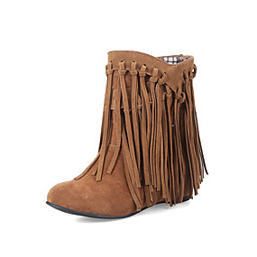 billige Mote Boots-Dame Støvler Duskesko Rund Tå Nubuck Skinn Ankelstøvler Snøstøvler Vår / Høst Svart / Gul / Brun