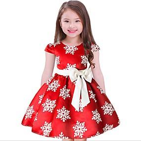 billige 11-11 supersalg-Barn Jente Fritid Blomstret Jul Kortermet Kjole Blå