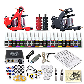 cheap Tattoos & Body Art-DRAGONHAWK Tattoo Machine Starter Kit - 2 pcs Tattoo Machines with 20 x 5 ml tattoo inks, Professional, Safety, Easy to Install Mini power supply Case Not Included 2 alloy machine liner & shader