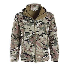 cheap Under €49-Men's Camouflage Hunting Jacket Outdoor Thermal / Warm Waterproof Windproof Breathable Autumn / Fall Winter Camo Jacket Softshell Jacket Winter Jacket Polyester Softshell Long Sleeve Camping / Hiking