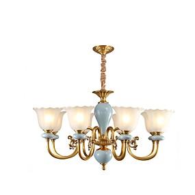 cheap Lantern Design-ZHISHU 8-Light 84 cm Adjustable Pendant Light Metal Glass Brass Modern Contemporary 110-120V / 220-240V