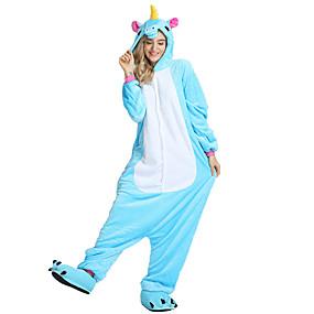 preiswerte Leisure-Erwachsene Kigurumi-Pyjamas Unicorn Fliegendes Pferd Pony Pyjamas-Einteiler Samtnerzchen Schwarz / Leicht Blau / Weiß Cosplay Für Herren und Damen Tiernachtwäsche Karikatur Fest / Feiertage Kostüme