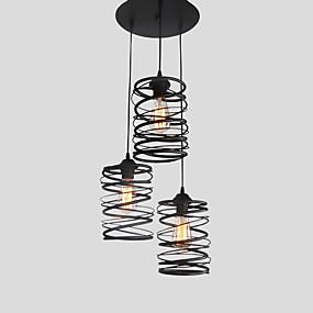 povoljno Viseća rasvjeta-3-glava vintage potkrovlje crne metalne spirale sjenilo privjesak svjetla kuhinja kafić blagovaonica dekoracija rasvjeta oslikana završiti
