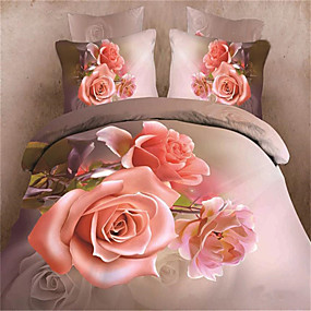 preiswerte Blumen-Duvet-Abdeckungen-Bettbezug-Sets 3D Polyester Reaktivdruck 4 StückBedding Sets / 400 / 4-teilig (1 Bettbezug, 1 Bettlaken, 2 Kissenbezüge)