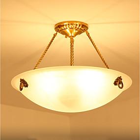 cheap Ceiling Lights & Fans-ZHISHU 3-Light 40 cm Mini Style Pendant Light Metal Glass Inverted Brass Traditional / Classic 110-120V / 220-240V