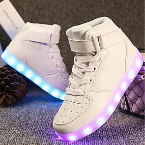 preiswerte Schuhe für Kinder-Mädchen Komfort / Leuchtende LED-Schuhe maßgeschneiderte Werkstoffe / Kunstleder Sneakers Kleine Kinder (4-7 Jahre) / Große Kinder (ab 7 Jahren) Walking Schnürsenkel / Klett / LED Rot / Blau / Rosa