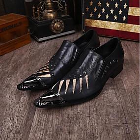 cheap Men's Oxfords-Men's Novelty Shoes Nappa Leather Spring / Summer Vintage Oxfords Black / Wedding / Party & Evening / Rivet / Party & Evening / Comfort Shoes