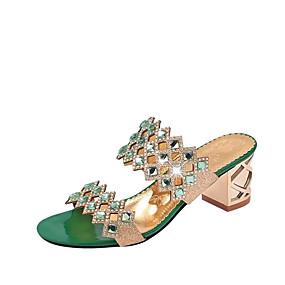 preiswerte Sapatos-Damen Sandalen Kristall Sandalen Blockabsatz / Block Ferse Spitze Zehe Kristall PU Komfort Sommer Gold / Grün / Rot / EU40