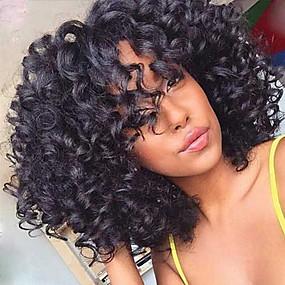 abordables Curly Lace Wigs-Peluca Pelo Natural Frontal sin Pegamento Encaje Frontal Cabello Brasileño Kinky Curly Corte Bob Corte a capas Con flequillo Mujer Densidad 130% con pelo de bebe Raíces oscuras Entradas Naturales