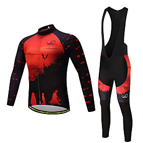 cheap Cycling & Motorcycling-21Grams Men's Long Sleeve Cycling Jersey with Bib Tights Cycling Jersey Winter Fleece Lycra Yellow Black Blue Funny Sunset Bike Jersey Fleece Lining 3D Pad Quick Dry Reflective Strips Back Pocket