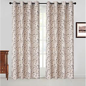 preiswerte Heiße Angebote-Verdunkelungsvorhänge Vorhänge zwei Platten Schlafzimmer Blumen Polyester-Mix Jacquard