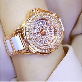 preiswerte Damenuhren-Damen Uhr Armbanduhr Diamond Watch Goldene Uhr Japanisch Quartz Edelstahl Keramik Weiß / Silber / Gold 30 m Armbanduhren für den Alltag Analog damas Charme Gold Silber Rotgold