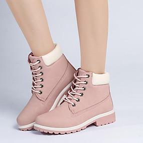 preiswerte Women's Boots-Damen Stiefel Niedriger Heel Runde Zehe Schnürsenkel PU Neuheit / Modische Stiefel / Springerstiefel Walking Herbst / Winter Grün / Rosa / Regenbogen / EU41