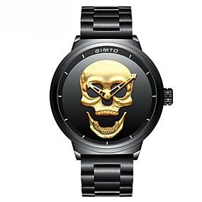 preiswerte Halloween-Uhren-Herrn Uhr Armbanduhr Japanisch Quartz Edelstahl Schwarz Wasserdicht Chronograph Armbanduhren für den Alltag Analog Luxus Freizeit Totenkopf Modisch Gold Schwarz / Zwei jahr / Zwei jahr