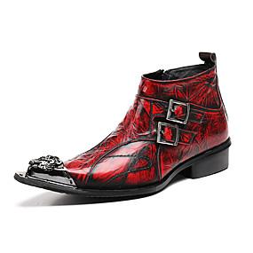 levne Větší obuv-Pánské Kotníčkové Nappa Leather Podzim / Zima Boty Kotníčkové Červená / Party / Party / Obuv military styl