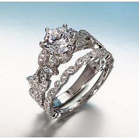 olcso eljegyzés-Női Band Ring Gyűrűk készlet Belle gyűrű Gyémánt Kocka cirkónia apró gyémánt 2 Ezüst Réz Ezüstözött Circle Shape hölgyek Koreai Esküvő Eljegyzés Ékszerek Egymásra rakható Leaf Shape Szeretetreméltő