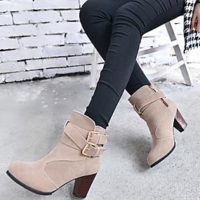 billige Mote Boots-Dame Støvler Tykk hæl Rund Tå Spenne Kunstlær Ankelstøvler Trendy støvler Høst / Vinter Svart / Beige / Brun / Fest / aften