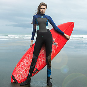 cheap Surfing, Swimming & Diving-HISEA® Women's Full Wetsuit 1.5mm SCR Neoprene Diving Suit Thermal / Warm Breathable Stretchy Long Sleeve Back Zip Knee Pads Patchwork