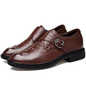 levne Větší obuv-Pánské Společenské boty Nappa Leather Jaro / Podzim Oxfordské Černá / Kávová / Party / Party / Komfortní boty