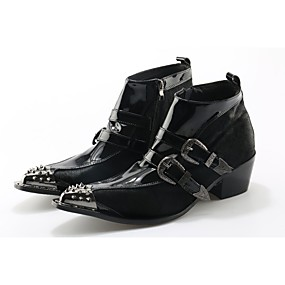 levne Větší obuv-Pánské Fashion Boots Kůže / Koňské žíně Podzim / Zima Boty Kotníčkové Černá / Svatební / Party / Party