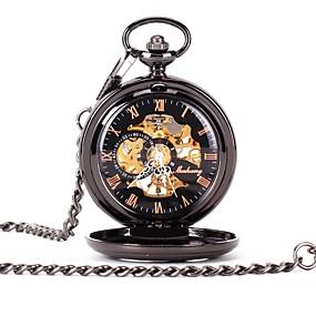 preiswerte Halloween Schmuck-Paar Uhr Totenkopfuhr Taschenuhr Quartz Legierung Schwarz Transparentes Ziffernblatt Armbanduhren für den Alltag Analog damas Luxus Freizeit Totenkopf Steampunk Schwarz